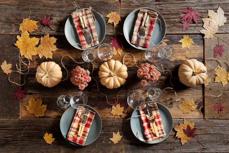 Table set for rustic thanksgiving dinner.   Shot from above.  Could also be used for Christmas dinner.